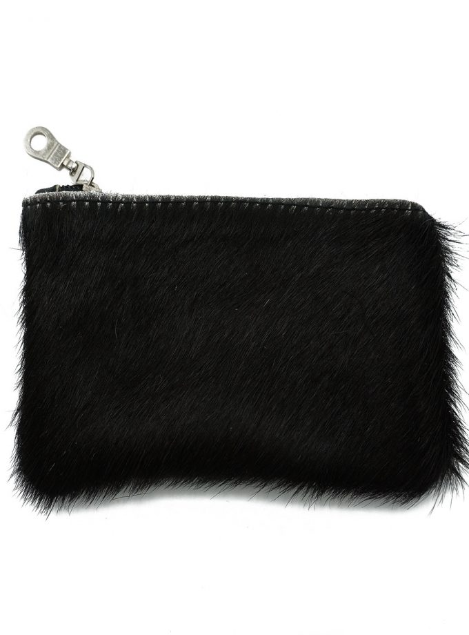 Black furry wallet