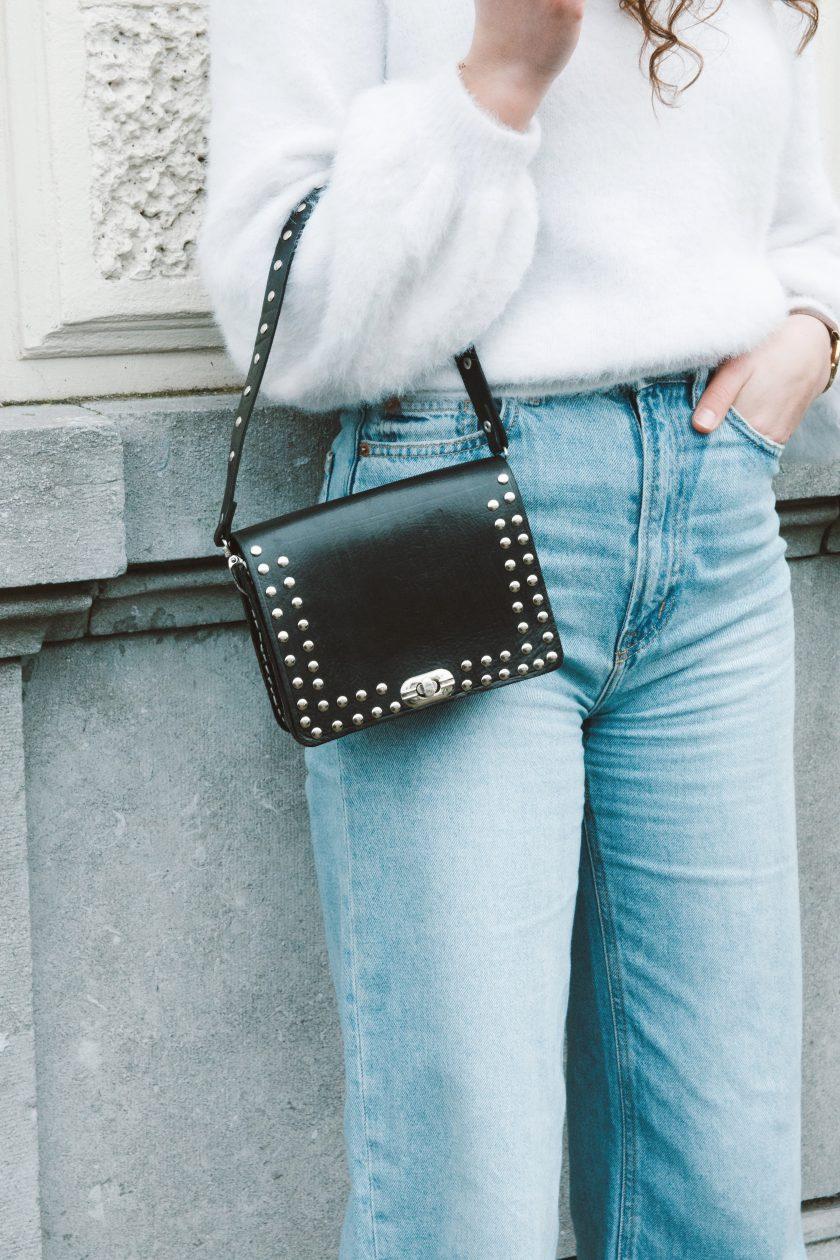 Bella square bag black S + bagstrap single studs short black