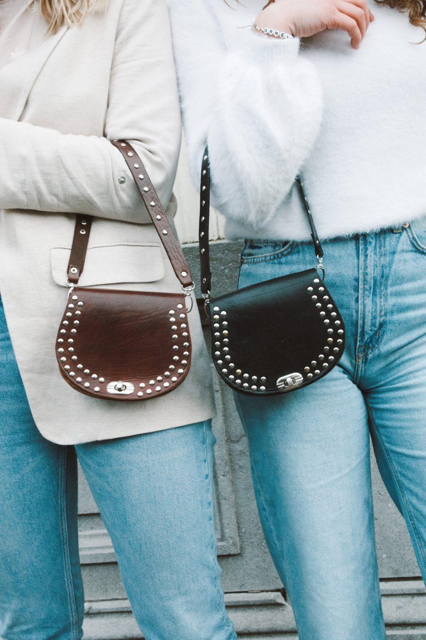 Bagstrap single studs short brown + black & Bella bags brown and black S